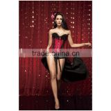 Fashion Women Feather Sexy Corsets And Bustiers Floral Satin Burlesque Corset Costume