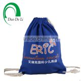 Free Samples Customized Top Quality Color Dyed Blue Printed Cotton Drawstring Bag for Students