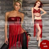 2016 High quality women sexy red belly dance belt tassel cheap tribal belly dancing hip scarf on sale