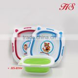 Cartoon design multifuntional portable plastic baby bath basin folding wash basin