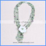 Wholesale Handmade Multi-layer Crystal Bead Fluorite Gemstone Chips Pearl Shell Flower Tassels Long Necklaces GN-DQ048