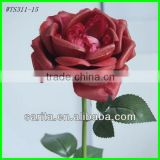 factory price single artificial cabbage roses with red colors
