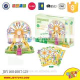 Amusement park series 3D puzzle game with light and music ferris wheel 360 degree rotation 65pcs