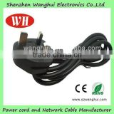 UK power cord with plug,Female power cord ends.ac power cord,british power cord/bs 3 pin uk laptop power cord