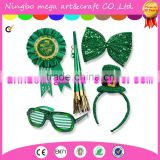 St. Patrick's Day Set; St. Patrick's Day Light up Glasses, Giant Bow Tie, Award Ribbon Pin, Mini Hat Headband, & Horn on a Chain