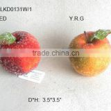 "2014 New Artificial Fake Fruits Christmas 3.5*3.5"" Artificial Sugar Apple With Glitter Christmas Tree Decoration"