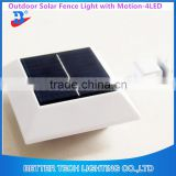 2016 manufacturer China led garden lamp Square Solar Powered Motion Sensor Outdoor Wall Mount Gutter Fence Light