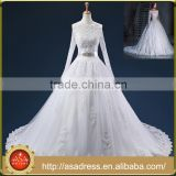 ASAP-11 Off the Shoulder Lace Appliques Sequins Court Train Ball Gown Wedding Dresses with Jacket