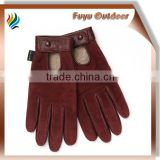 Classic china short red driving Sheepskin plain style unlined women leather gloves on line