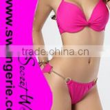 Wrinkle Pushed-Up Padded Bikini with O-ring and Chain Panty Sexy Fashion Modern Bikini Swimwear NA97-rose