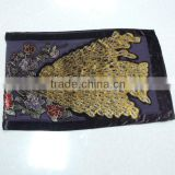 TYCAP088 2014 Fashion Women's Purple Burnt out velvet Long Scarf of The Peacock Pattern