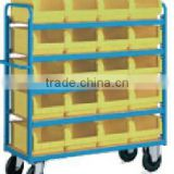 China factory iso certificate mobile rack,metal rack for plastic box, trolley for plastic container