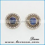 Wholesale fashion jewelry Crystal around gemstones charms brass stud earring jewelry supplies