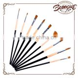 Factory Price 9 Pcs Long Wood Handle Artist Nylon Round Paint Brush Flat Paintbrush Fan Brushes Set Watercolor Painting Brush