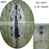 HHV9 2011 Wholesale New two Layers Lace Edged Beads Real Sample Bride Wedding Veil