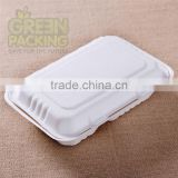 9x6 inch biodegradable sugarcane 1000ml 2-div food container with lid