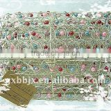 Silver colourful pearl wire storage box with lid