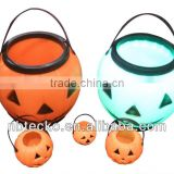 Hot selling plastic Halloween decoration pumpkin led light bucket