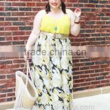 The new fashion ladies plus size dress long twirl chiffon printing maxi floral skirts with pocket for fat women
