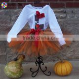 Custom Applique Turkey Embroidered Bodysuit Gobble Initial Tutu Set Girls Thanksgiving Outfits Cotton Baby Clothes