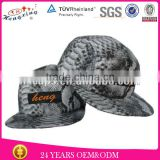 OEM 5 panel hat high quality full snakeskin leather 5 panel hat/cap snap back with woven label on front