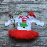 baby girls Christmas tutu romper infant baby girls Christmas tree cotton rompers with red chiffon tutu with accessories