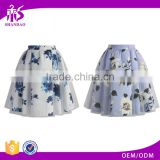 2016 Guangzhou Shandao OEM/ODM Custom Design Elegant Women Short A Line Ruffle Cotton Flower Printed Skirts