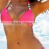 Sexy Womens Double Layer Bikini Harness Belly Body Chain Beach Necklace Jewelry
