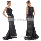 Wholesale elegant long lace evening dress, cocktail party dress, women's black overlay evening gown