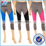 2015 New Yihao fitness custom leggings womens capri workout stretch trousers color block crop Athletic yoga leggings pants