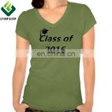 V-neck Short Sleeve Women's Graduation T-shirt