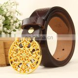 Vintage Style Fashion Women Genuine Leather Metal Gold Flower Buckle Brown Belt