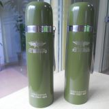 Green color stainless steel vacuum flask bottle with rope lift and laser logo