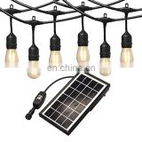 Solar Powered LED String Lights with 3V Solar Panel 2W LED Bulb for Outdoor Garden Use