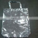metallic effect silver non woven shopping bag