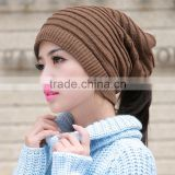 New bright beautiful cute two functions slouchy popular knit beanie hat headwear neckwear unisex scarf