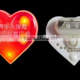 Heart Shape Three Yellow Lights Lapal Pin, Personalized High Quality LED Brooch Pin/Badge