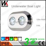 Most Popular RGB Waterproof 120w Marine Led Underwater Light for Luxury Motor Yacht
