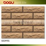 Rough finish full body ceramic yellow outdoor wall decorative clinker tile natural design 60x240mm