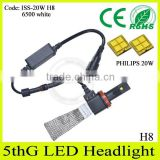 No fan design!! 2015 newest products car accessories h8 headlight, cooling copper wire headlamp led for cars