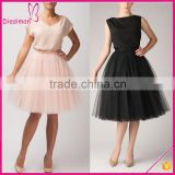 Wholesale invisable zipper high quality solid color women puffy tulle skirt, adult tulle skirt