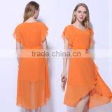 Women's irregular Design Orange Color Chiffon Summer Short Sleeve Dress Guangzhou Garments Design&Manufacturer