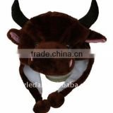 Winter Plush Brown Bull Caps and Hats