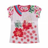 2-6Years (S63181#White&pink)Flags kids garment wholesale new designs baby toddler girls flower strass t shirt