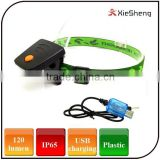 Wholesales Sensing fishing light plastic rechargeable led headlamp usb hunting led cap light