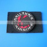 round 3D company logo white letters PVC label patch for clothing