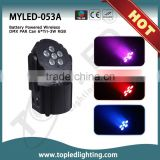 New Style and Sound-active IR Remote Optional DMX 6*Tri-3W RGB Battery Powered Wireless LED Moving Head Light