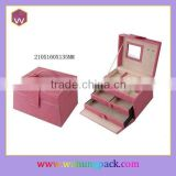 Fashion Pink PU Jewelry Box For Girls / Folding Mirrored Jewel Box Drawers Pull