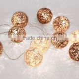 coffee color LED Christmas Lights, cotton ball light string, party decoration yarn ball light string