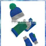 100% acrylci blue green stripe knit hat scarf mitten sets for kids